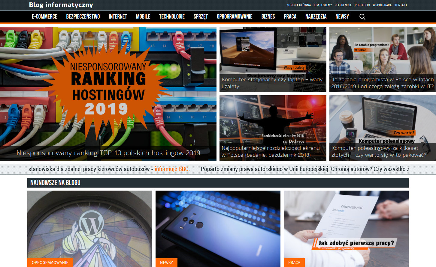 Blog informatyczny Sergiusza Diundyka - zrzut ekranu 1.