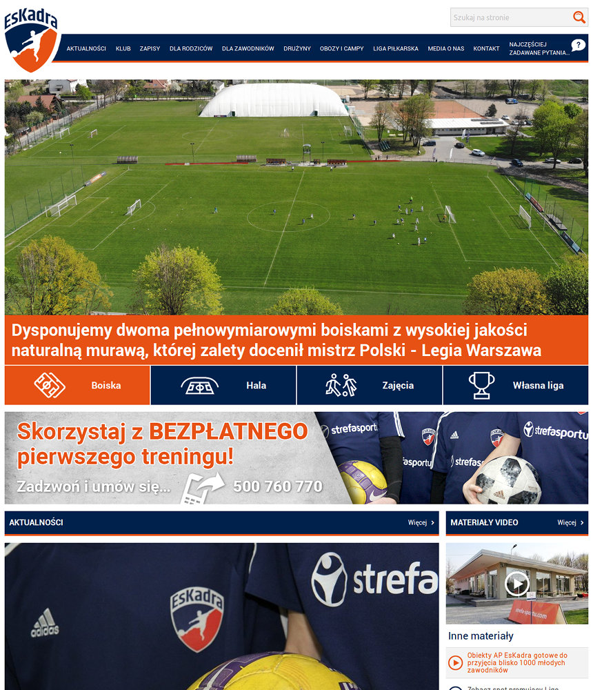 Portal sportowy EsKadra - zrzut ekranu 1.