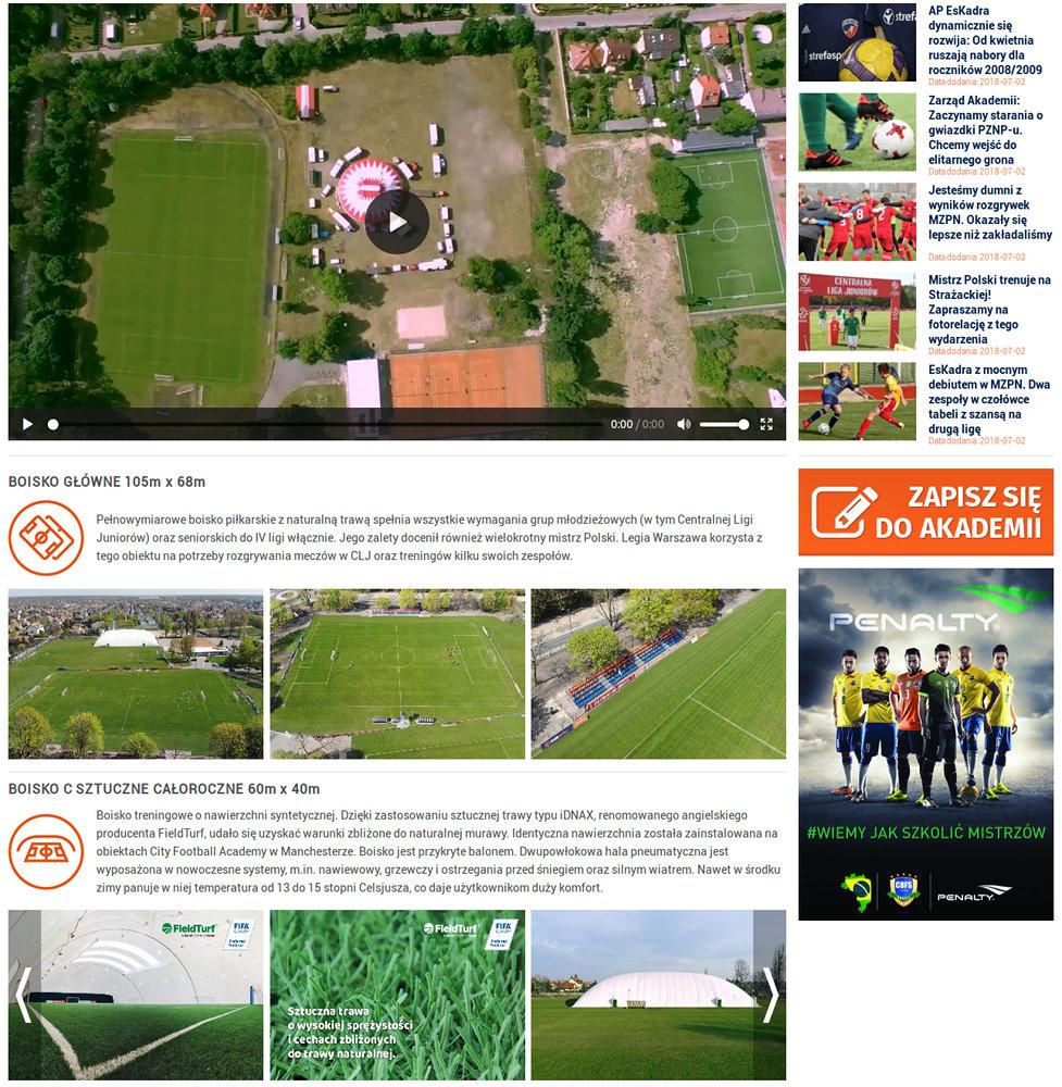 Portal sportowy EsKadra - zrzut ekranu 2.