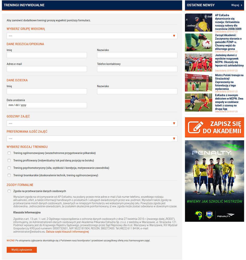 Portal sportowy EsKadra - zrzut ekranu 3.