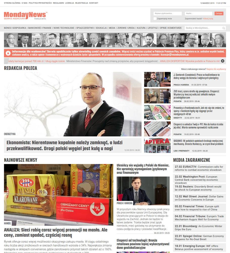 Portal nowościowy MondayNews - zrzut ekranu 1.