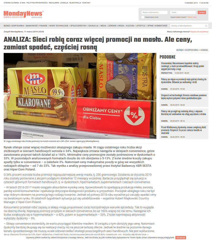 Portal nowościowy MondayNews - zrzut ekranu 2.