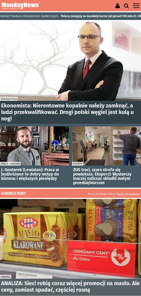 Portal nowościowy MondayNews - zrzut ekranu 4.