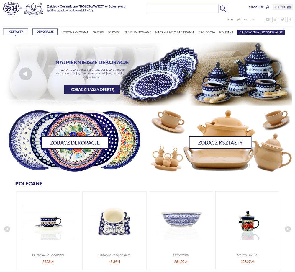 Sklep internetowy Zakłady ceramiczne Bolesławiec - zrzut ekranu 1.